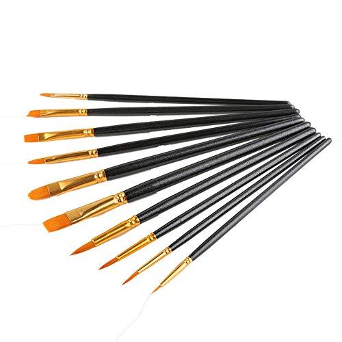 FzJs-J-in 10 Stück/Set Aquarellstift Pinsel Nylon Haarfarbe Pinsel Künstler Ölgemälde Pinsel Set