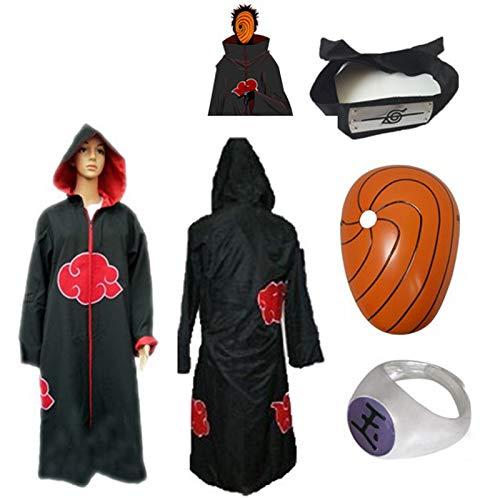 SUNKEE Japanische Anime Naruto Cosplay Für Tobi Set -- Akatsuki Ninja Kapuzenumhang Mantel,Größe(XL: Höhe 177cm-184cm) + Tobi Maske +Tobi Ring+Tobi Stirnband