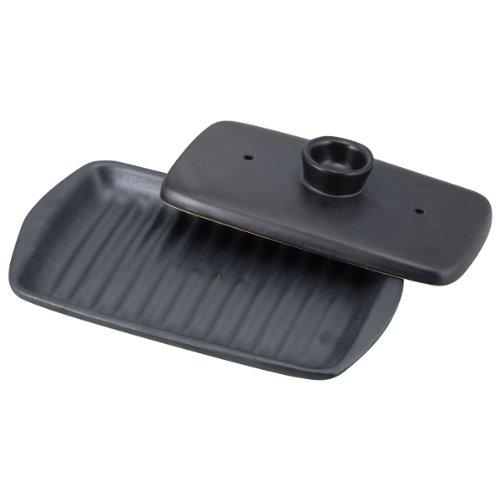 和平フレイズ 両面焼き角型プレート 焼けるんプレート ブラック YR-6018