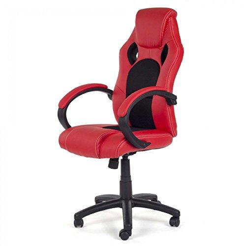 MY SIT Sedia Ufficio Poltrona girevole Racer Direzionale disegno Gamer Sintetica Rosso/Nero V8