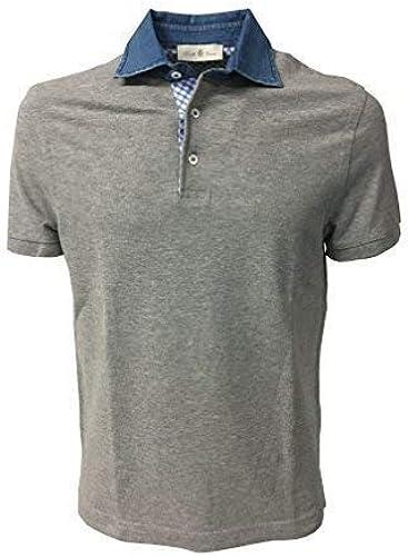 Della Ciana à Manches Courtes Polo Homme gris avec Col Jeans 100% Coton 48