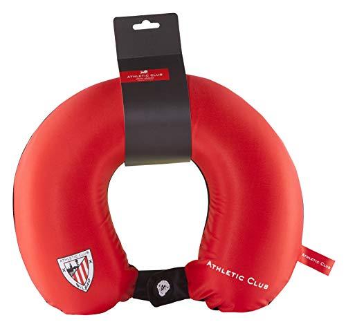 Athletic Club de Bilbao Cojín Cervical de Viaje - Producto Oficial del Equipo, Relleno con Espuma de Memoria, Acabado de Algodón, y Cierre con Botón para Asegurar su Posición