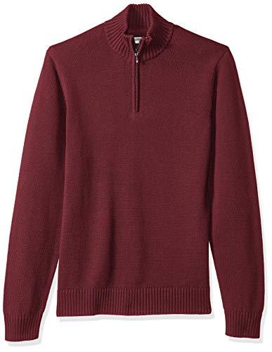 Marchio Amazon — Goodthreads, maglione da uomo, in morbido cotone, con cerniera 1/4, Rosso (solid burgundy Bur), US XS (EU XS)