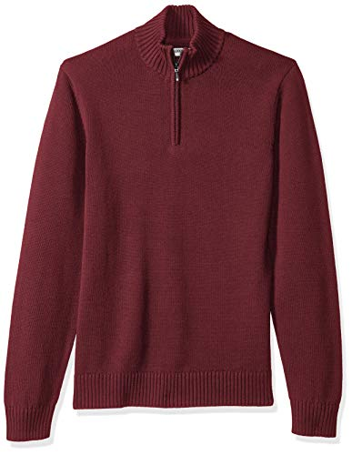 Amazon Brand - Goodthreads Men's Soft Cotton Quarter Zip Sweater, Solid Burgundy, Large