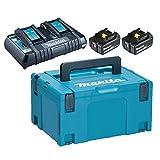 Makita 197629-2 Pack énergie 18 V Li-ION (2 Batteries 18V 5Ah Li-ION + 1 Chargeur Double DC18RD)...
