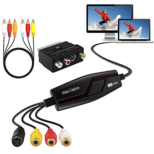 DIGITNOW!Convertidor de Captura de Vídeo USB,Hi8 VHS a DVD Digital Grabber Grabador ,Capturadora de Audio Vídeo para Mac Windows,Digitalizadora y Edite con Adaptador Scart/AV