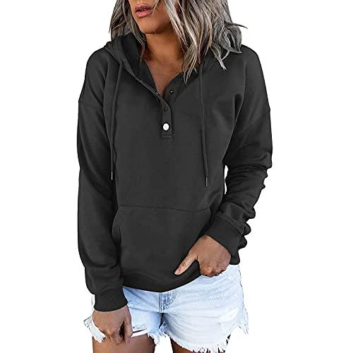 Kookmean Ropa de otoño para mujer, con botones de manga larga para mujer, sudadera con bolsillo con capucha, Negro, 3XL