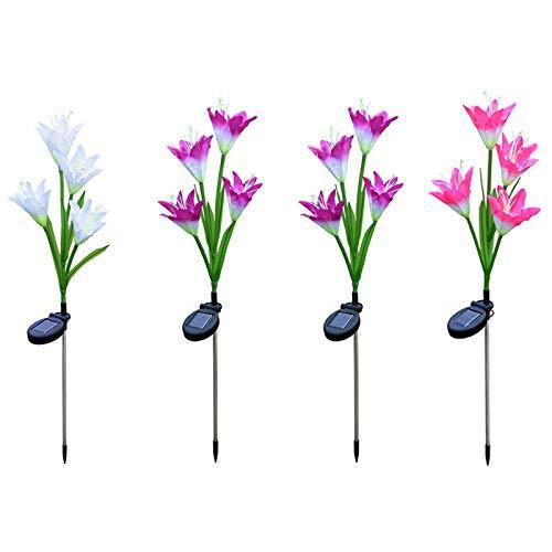 Zuoox Solar Garden Stake Lights - Juego de 4 lámparas LED con forma de flor de lirio que cambia de color