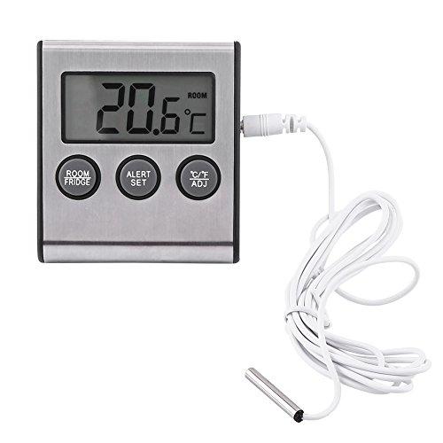 Termometro digitale per frigorifero con ampio display LCD Misuratore di temperatura frigorifero con allarme e supporto per alta temperatura