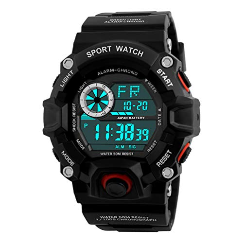 VIGOROSO Men's Military Wrist Watch Camouflage Army Fan LED Digital Sport Date Watches (Red)
