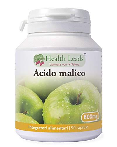 Acido malico 800mg x 90 capsule, OGM-free, Senza magnesio stearato e senza additivi aggressivi, Vegan, Formulato e realizzato in Galles