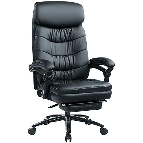 KCREAM Ergonomisch Leder Chefsessel mit Fußstütze, 180 KG Belastbarkeit Hohe Rückenlehne Reclining Bürostuhl, Höhenverstellbar und Wippfunktion Office Executive Chair (Schwarz)