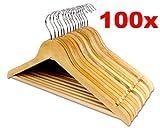 LANZZAS 100 Stück Holz Kleiderbügel in Ahornholz Natur