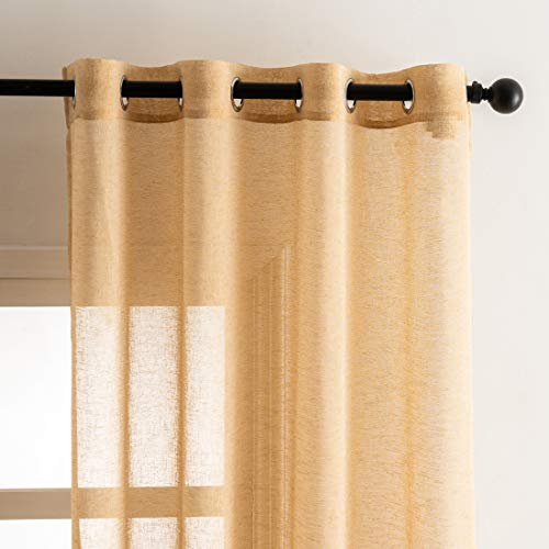 Gold Linen Curtains for Living Room - Light Filtering Privacy Gold Sheer Curtains 84 Inches Length 2 Panels for Bedroom, Faux Linen Grommet Top Curtain Panels, 52 x 84 Inch, 2 Panels, Gold
