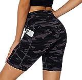 Yoga Shorts for Women Camo Workout Athletic Shorts for Women with Pockets High Waisted Running Girls Biking ShortsforWomen, Black Grey 2X