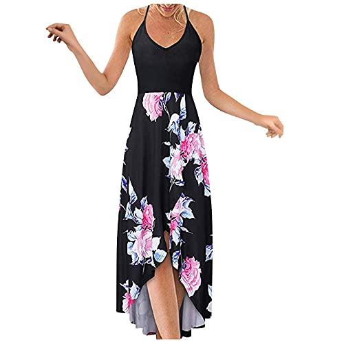 Bohemian Dress for Women,Women's Sleeveless Loose Maxi Dresses Casual Beach Party V-Neck Midi Dress with Pockets