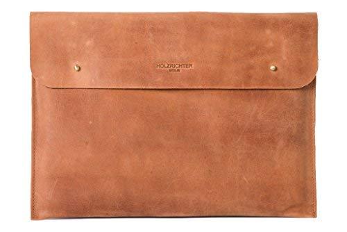 "HOLZRICHTER Berlin Laptop 13"" Sleeve - Premium Hülle aus Leder – Ledertasche für Notebook Apple MacBook 13\"" Retina – Camel-braun"