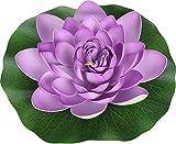 Flor de loto artificial para decoración de estanque, plantas artificiales flotantes para estanque, decoración para jardín, casa, boda (1 pieza XL 28 cm, morado)