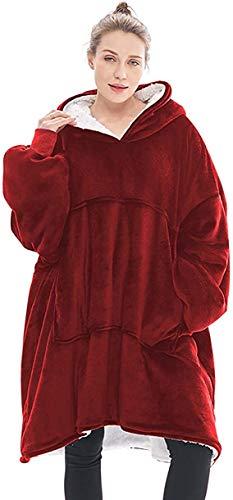 Seogva Oversized Sherpa Hoodie, Wearable Hoodie Sweatshirt Decke, Super Soft Warm Bequem Decke Hoodie, One Size Fits All, Männer, Frauen, Mädchen, Jungen, Freunde Gr. One size, weinrot