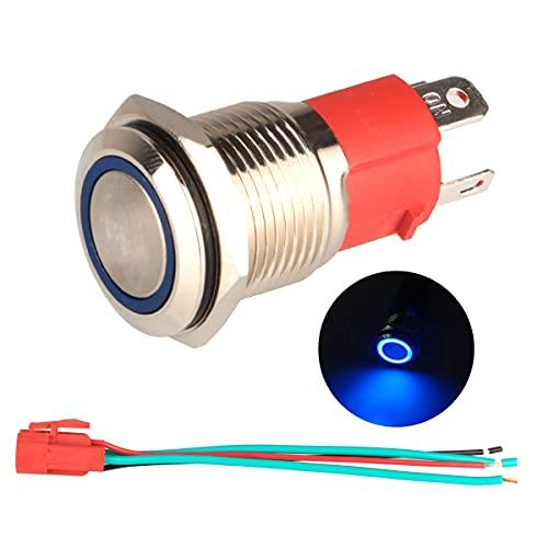 GUUZI 220V-230V / 15A Interruptor de Botón Momentáneo NO, Impermeable Luz LED Azul Iluminado Botón de Encendido de Metal de 16 mm con Cable de Enchufe