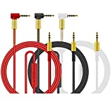 LINGYU 3.5mm Audio Replacement AUX Cable with Mic Cord 90 Degree Right Angle Compatible for...