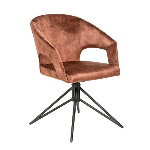 Invicta Interior Eleganter Retro Stuhl Eternity braun Samt mit drehbarer Sitzschale Besucherstuhl Esszimmerstuhl
