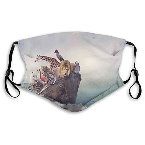 Winddichte Maske, Abenteuer Zusammensetzung von Tieren und Vögeln in einem Alten Boot Wellen im nebligen Ozean, gedruckte Gesichtsdekorationen, S.