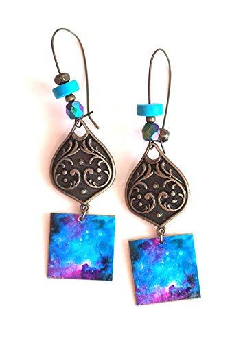 Ohrringe, Anhänger, Fantasie, blaues Universum, Galaxie, Bronze, handgefertigt