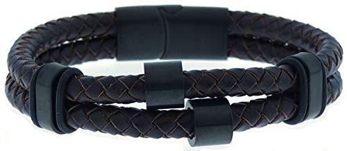 Pulsera SSK STYLE de Cuero stainless steel Premium para Hombre en Negro | Cierre de seguridad Magnético de Acero Inoxidable Gran Idea de Regalo 24 cm 0870821