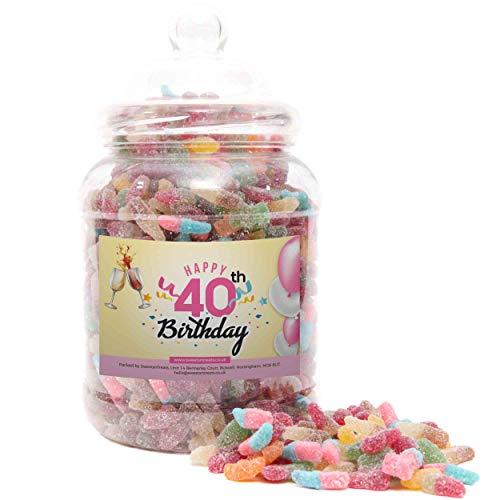 * NEW * 40th Birthday Fizzy Sweets Jar, 2 Sizes