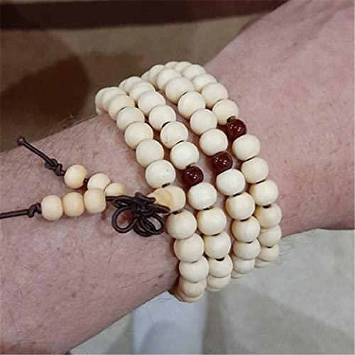 sdfpj Rezo 108 Perlas de Madera Budismo OM Lotus Buddha Collar for Mujeres Hombres Rosario Collar Pulsera Flor de la Vida Regalos de joyería (Metal Color : White)