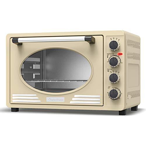 Mini-Backofen 45L mit Drehspieß, Backblech, Timerfunktion, Umluft, Innenbeleuchtung, Retro Design, Pizza-Ofen, 2000 Watt (creme)