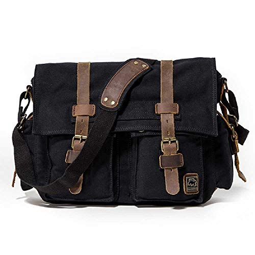 Zhuao Heren Schoudertas, Canvas Schuine Tas, Vintage Laptop Tas