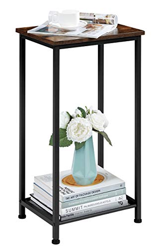 EKNITEY Nightstand/End Table, Space Saving Side Table, High and Narrow Entryway Table Telephone Table w/Storage Shelf for Living Room, Bedroom and Office