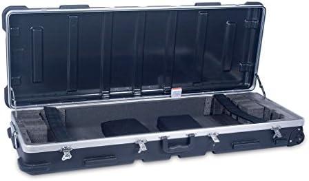 Crossrock 61 Key Keyboard Case Hard Molded with Wheels in Black CRA861KBK product image