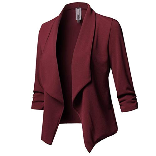 MINTLIMIT Damen Blazer Cardigan Dünn Geraffte Ärmel Elegant Bolero Business Jacke Blazer Slim Fit Anzug Trenchcoat Sakko Einfarbig Weinrot XL