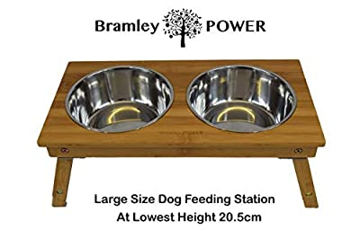 Bramley Power Elevated Adjustable Height Raised Bamboo Dog Pet Feeding Station Stand Bowls by Bramley Power