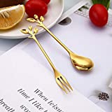 Home cloud Gold Leaf Coffee Spoon/Ice-Cream Tea Stirring Spoons/Dessert Espresso Spoons/Cutlery Kitchen Tableware 4.7 Inches Stainless Steel (Gold) (Set of 1)