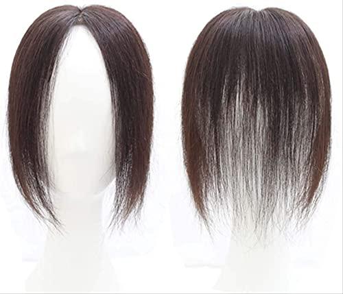 YOUKKGL Frauen Gerade Clip In Top Haar Topper Stück Perücke Echthaar Für Frauen Mit Ausdünnender Krone Toupee Gerade Haarspange Bang Extensions Natural Brown