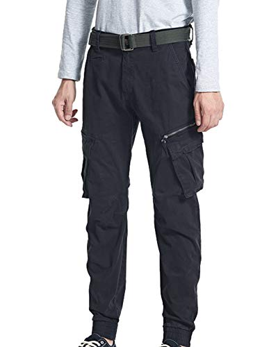 MISSMAOM_Fashion2019 Men's Rovic Zip 3D Straight Tapered Trousers with Elasticated Leg Opening,Dark Blue,38 W