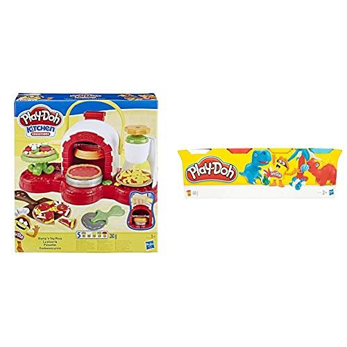 Play Doh -Cocina De Pizza, Multicolor, Talla Única Hasbro E4576Eu4 , Color/Modelo Surtido + Play-Doh-B6510 Pack 4 Botes (Hasbro B5517)