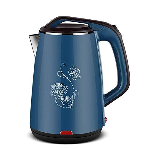GXY Hervidor eléctrico de aislamiento térmico de 2,3 L olla de color de acero inoxidable 304, hervidor doméstico antisecado, olla de apagado automático/azul