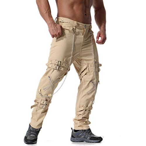Pantalones de Hombre Hip Hop Joggers Punk Rock Falso Cremalleras Decorar Cómodo Transpirable Streetwear Pantalones de Carga Casual