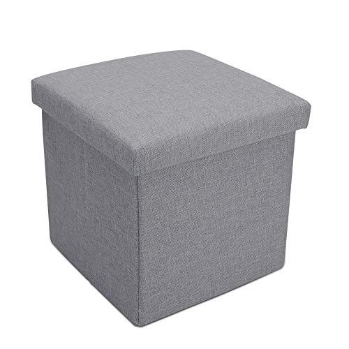 Intirilife Faltbarer Sitzhocker 38x38x38 cm in Alaska GRAU - Sitzwürfel mit Stauraum und Deckel aus Stoff in Leinen Optik - Sitzcube Fußablage Aufbewahrungsbox Truhe Sitzbank