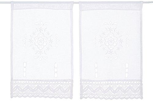 Home Fashion FENSTERBILDER LEINENSTRUKTUR Lochstickerei, Stoff, weiß, 45 x 30 cm