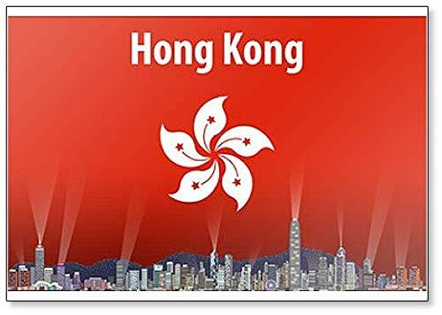 Kühlschrankmagnet, Motiv Skyline von Hongkong mit Flagge von Hongkong