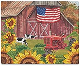 JTMOVING Wall Art Painting American Flag Patriotic Farm with Sunflower Prints On Canvas The Picture Landscape Pictures Oil for Home Modern Decoration Print Decor for Living Room