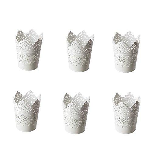 IKEA SKURAR Kerzenhalter in weiß; (11cm); 6 Stück