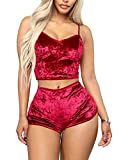 Womens Sexy Velvet 2 Pieces Romper Club Outfit Sleeveless Crop Top Camisole and Shorts Jogging Set Tracksuit Red
