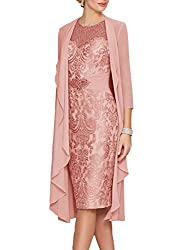 Dusty Rose Echo Lace Dress With Rhinestone Belt & Chiffon Jacket